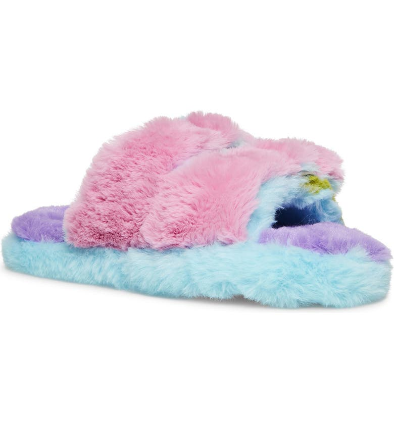 STEVE MADDEN Kids' Jaround Faux Fur Slide Slipper, Main, color, PINK MULTI