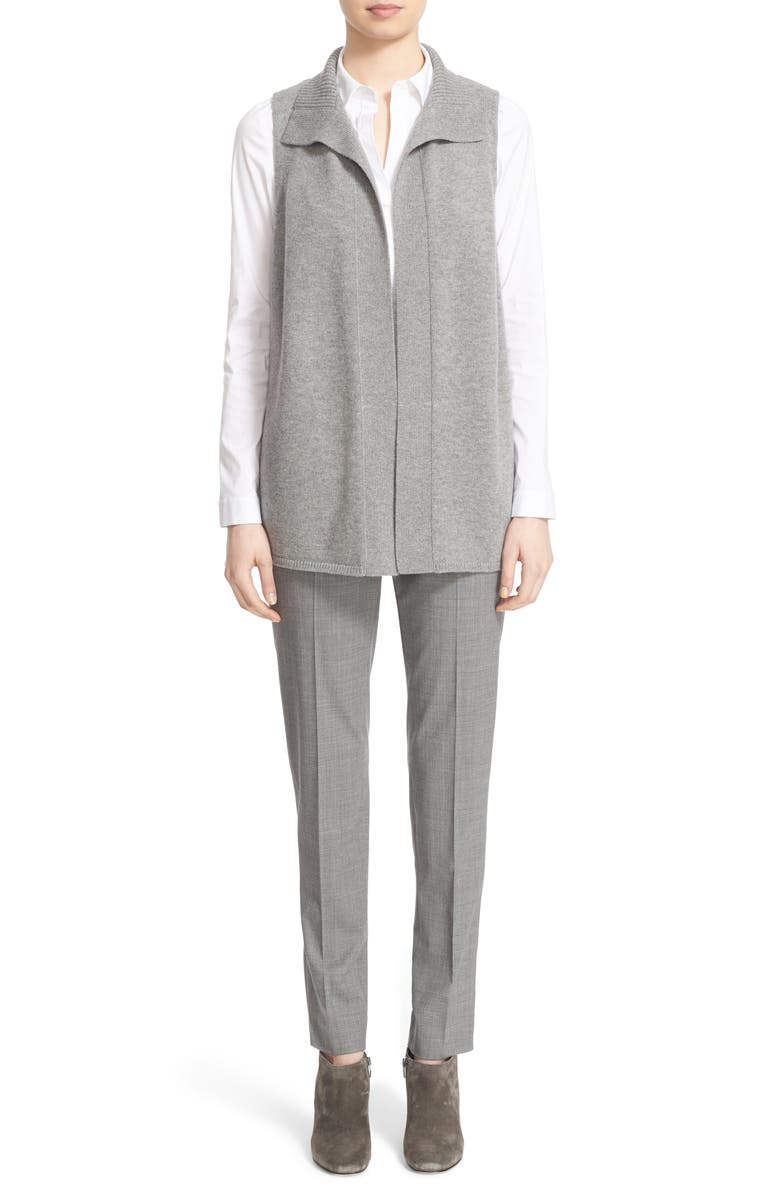 LAFAYETTE 148 NEW YORK Suede & Wool Open Front Vest, Main, color, 021