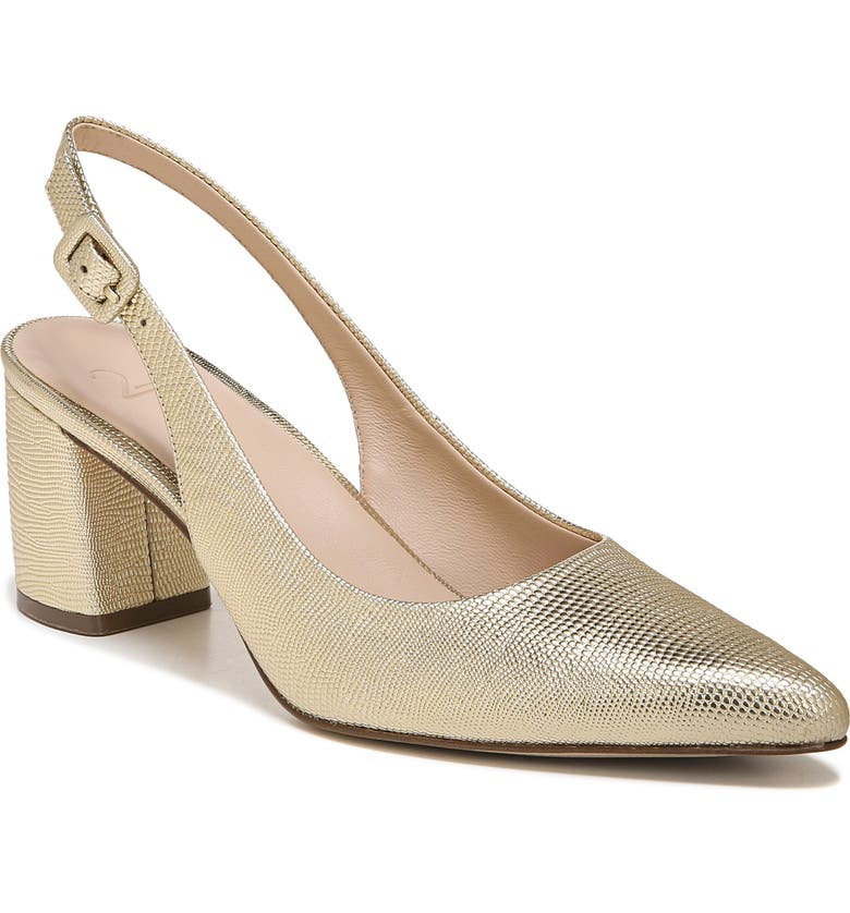 27 EDIT Meera Pointed Toe Leather Slingback Pump - Multiple Widths Available, Main, color, GOLD LEATHER