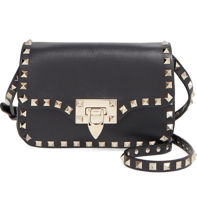 VALENTINO 'Mini Rockstud' Crossbody Bag, Main, color, 001