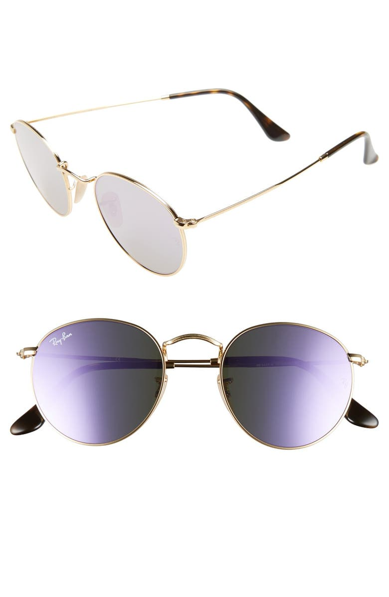 RAY-BAN Icons 50mm Round Sunglasses, Main, color, 500