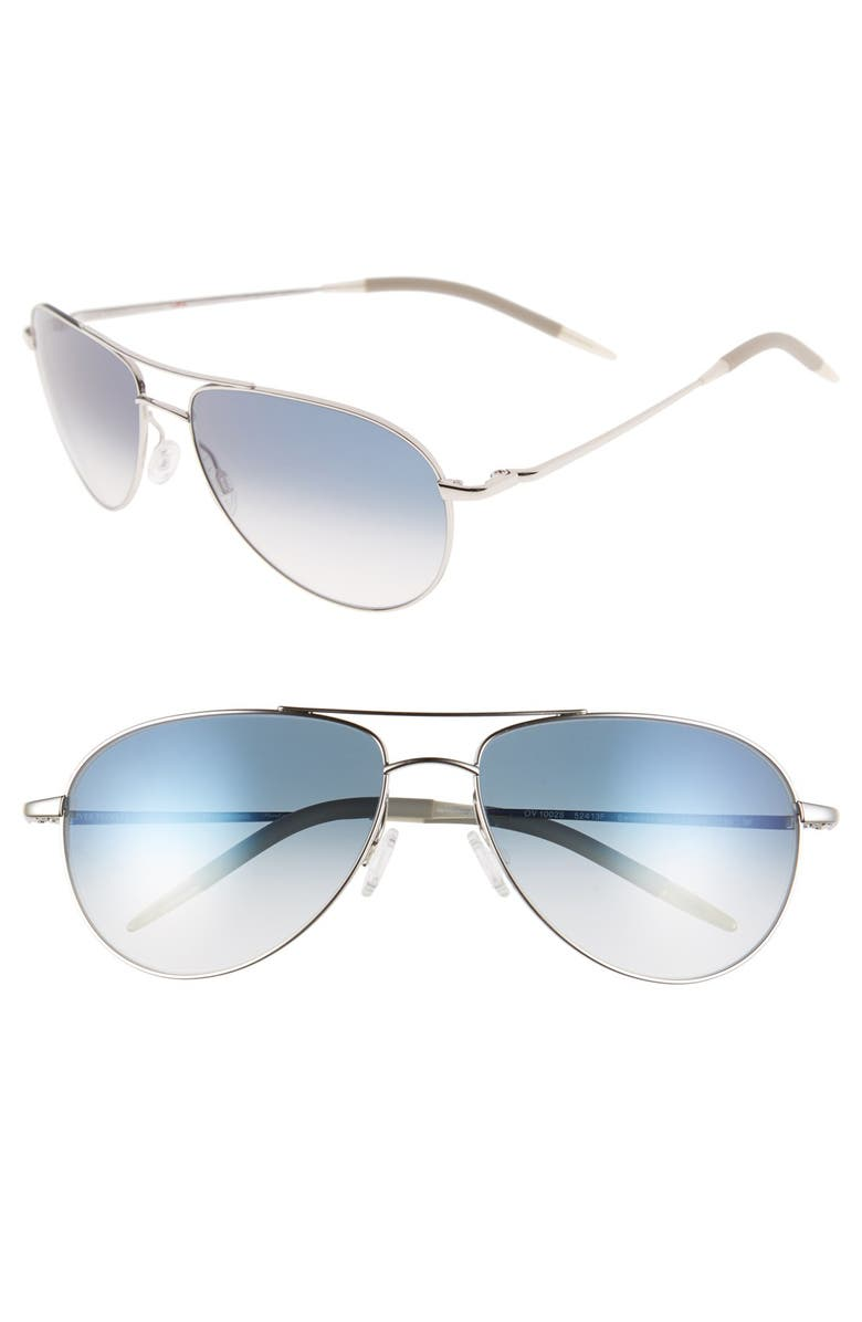 OLIVER PEOPLES Benedict 59mm Photochromic Gradient Aviator Sunglasses, Main, color, SILVER/ CHROME SAPPHIRE