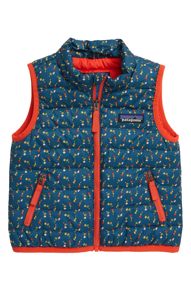 PATAGONIA Water Repellent Recycled Down Sweater Vest, Main, color, SLOW DANCE - CRATER BLUE