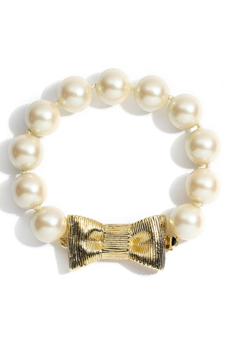 KATE SPADE NEW YORK 'all wrapped up' glass pearl bracelet, Main, color, 900
