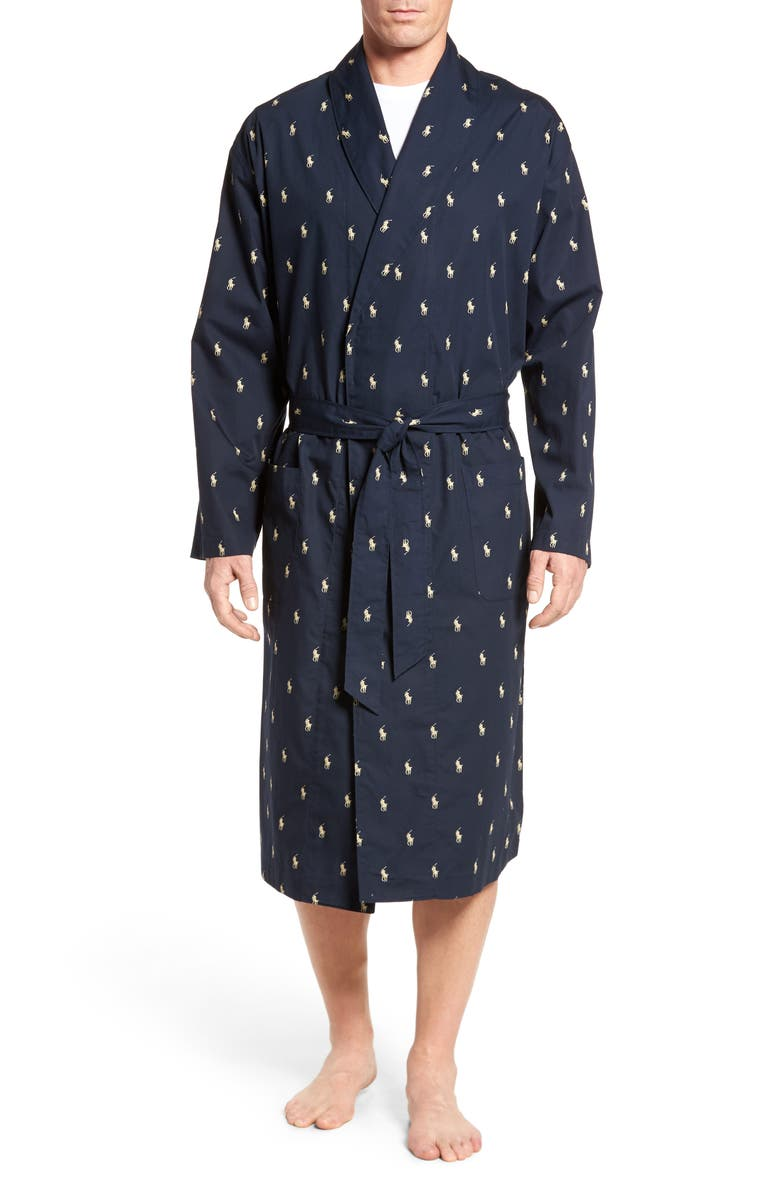 POLO RALPH LAUREN 'Polo Player' Cotton Robe, Main, color, NAVY