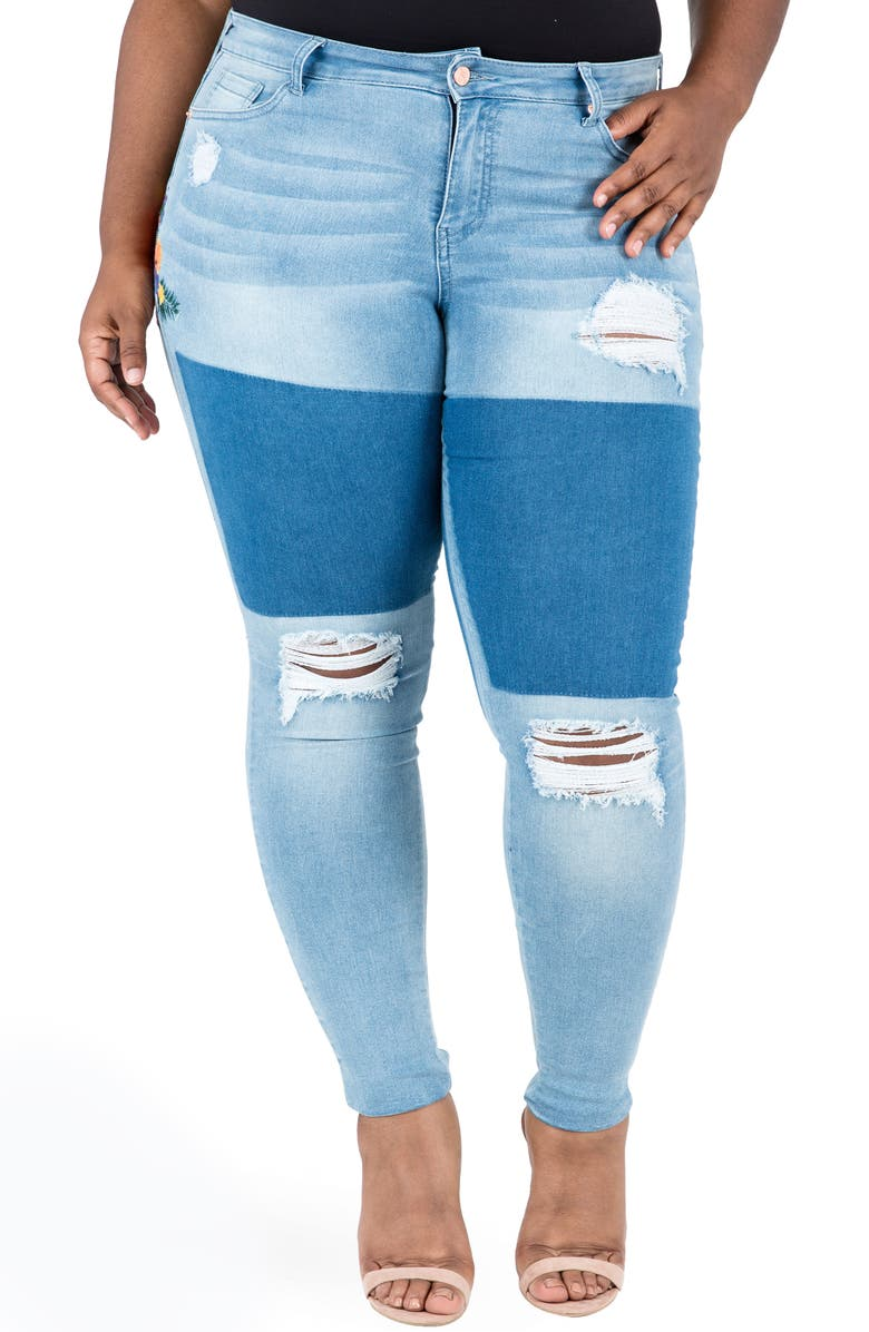 POETIC JUSTICE Madison Ripped & Embroidered Skinny Jeans, Main, color, Blue