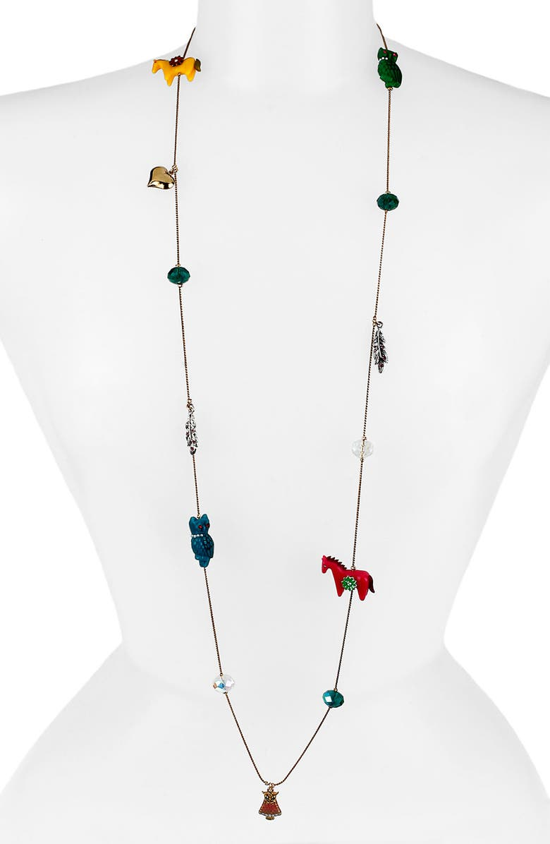 BETSEY JOHNSON 'Flights of Fancy' Long Station Necklace, Main, color, HORSE MULTI