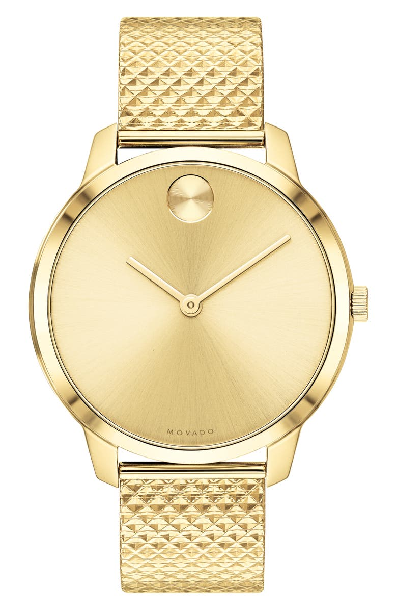 MOVADO Bold Mesh Strap Watch, 42mm, Main, color, LIGHT GOLD