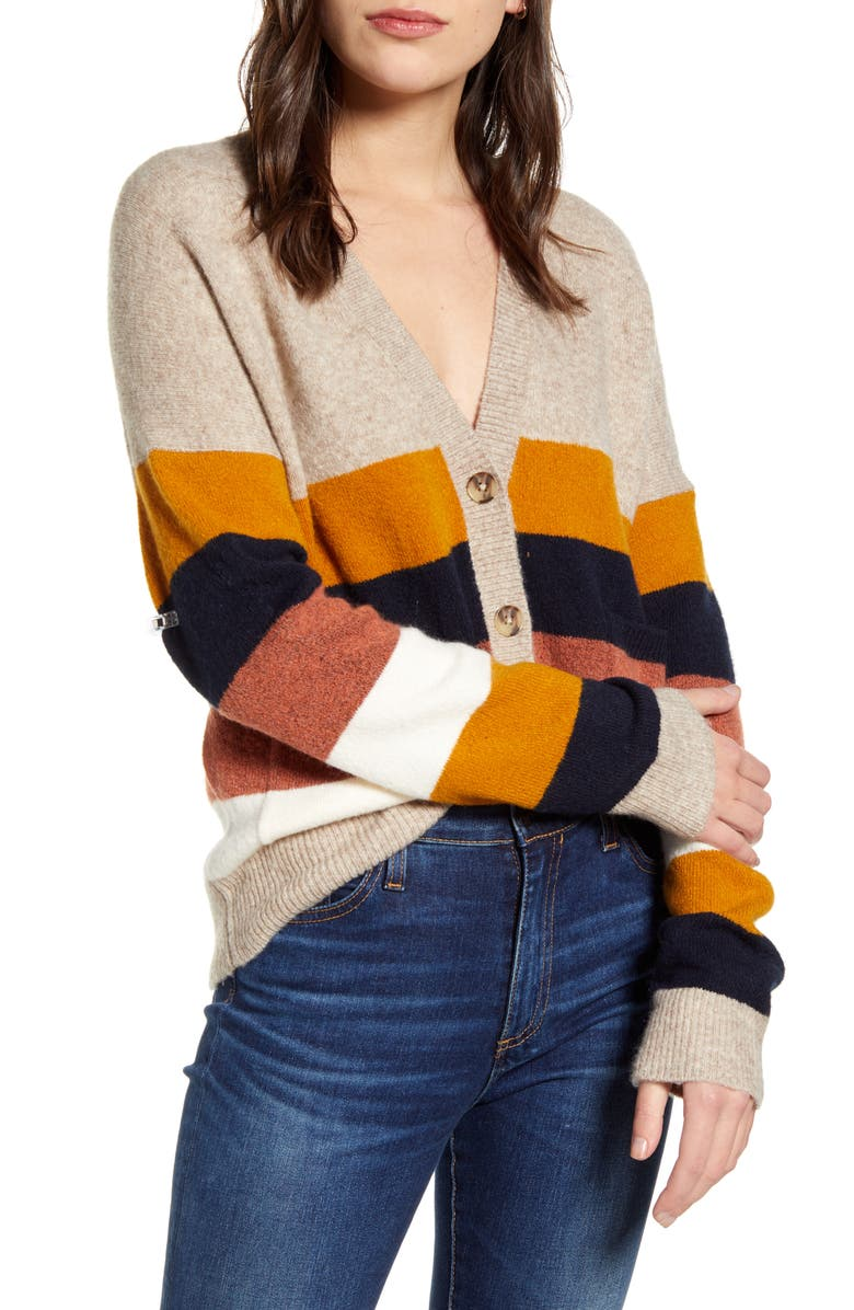 MADEWELL Kent Staunton Stripe Short Ex-Boyfriend Cardigan Sweater, Main, color, 020
