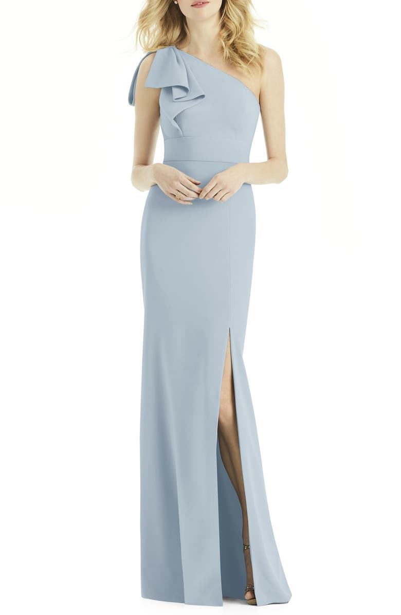 AFTER SIX Bow One-Shoulder Trumpet Gown, Main, color, MIST