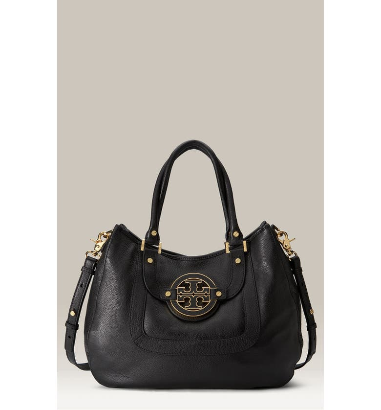 TORY BURCH 'Amanda' Leather Hobo, Main, color, 001