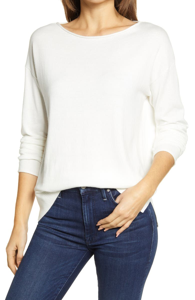 CASLON<SUP>®</SUP> Boatneck Sweater, Main, color, IVORY