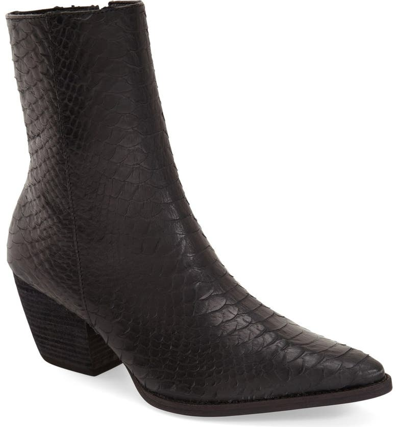MATISSE Caty Western Pointed Toe Bootie, Main, color, BLACK CROC EMBOSSED LEATHER