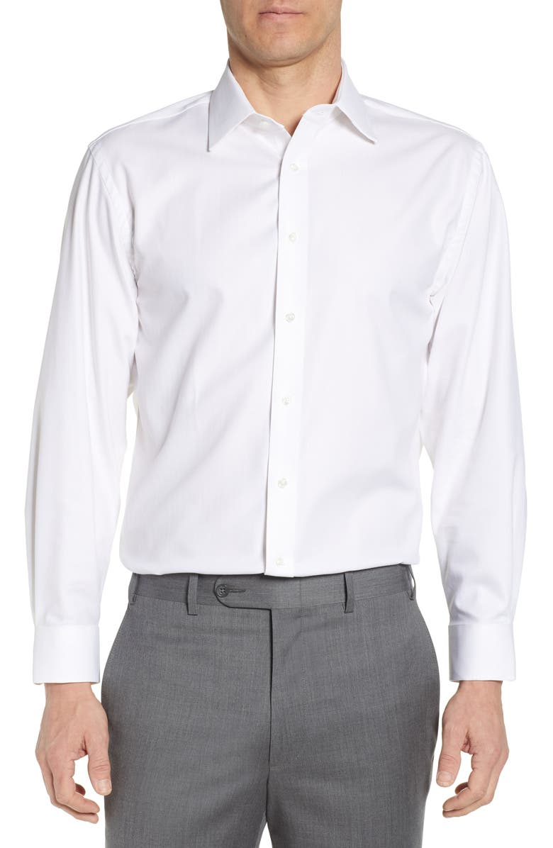 NORDSTROM MEN'S SHOP Nordstrom Tech-Smart Traditional Fit Stretch Herringbone Dress Shirt, Main, color, WHITE
