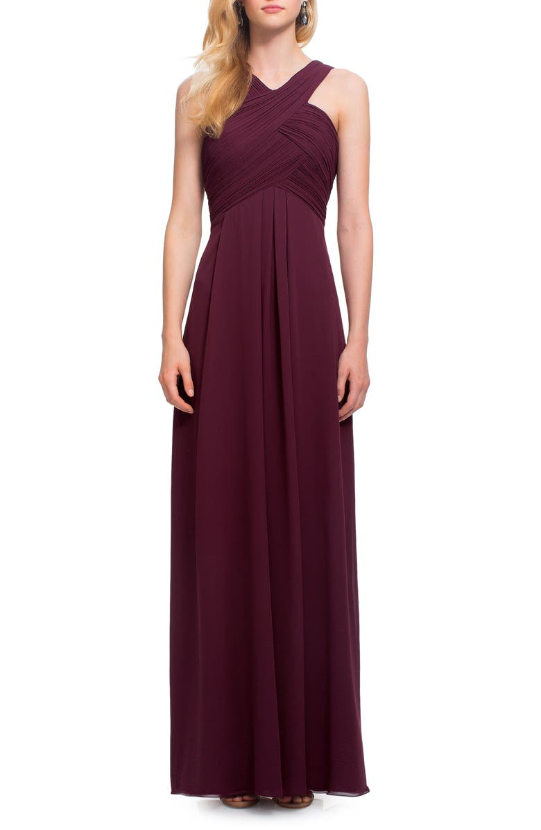 #LEVKOFF Crisscross Neck Chiffon A-Line Gown, Main, color, WINE