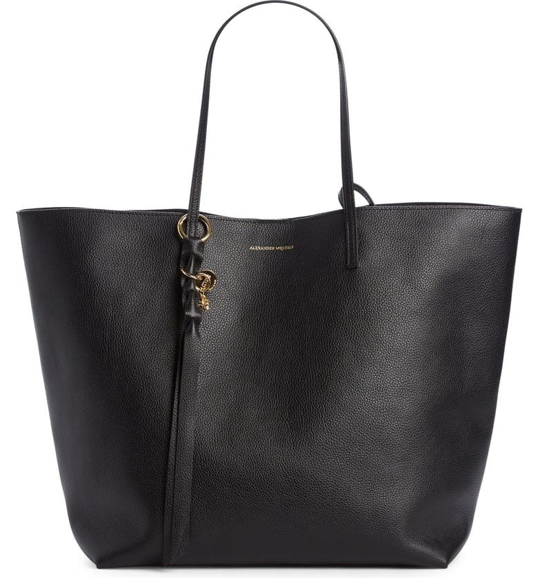 ALEXANDER MCQUEEN Calfskin Leather Tote, Main, color, 001