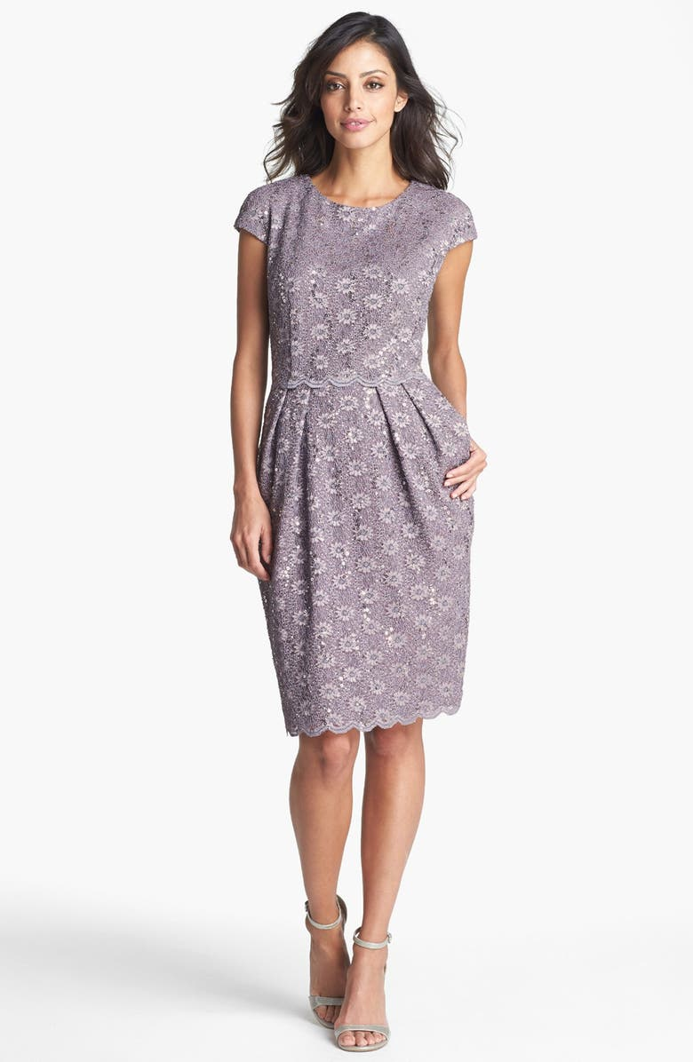 ALEX EVENINGS Sequin Lace Overlay Sheath Dress, Main, color, PEWTER FROST