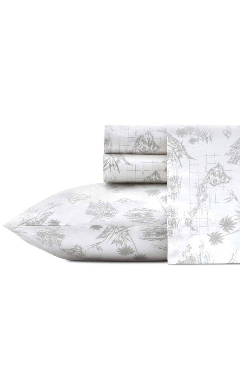 TOMMY BAHAMA Vintage Map 200 Thread Count Sheet Set, Main, color, GREY