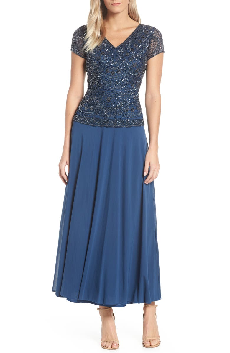 PISARRO NIGHTS Beaded V-Neck Mock Two-Piece Gown, Main, color, 400
