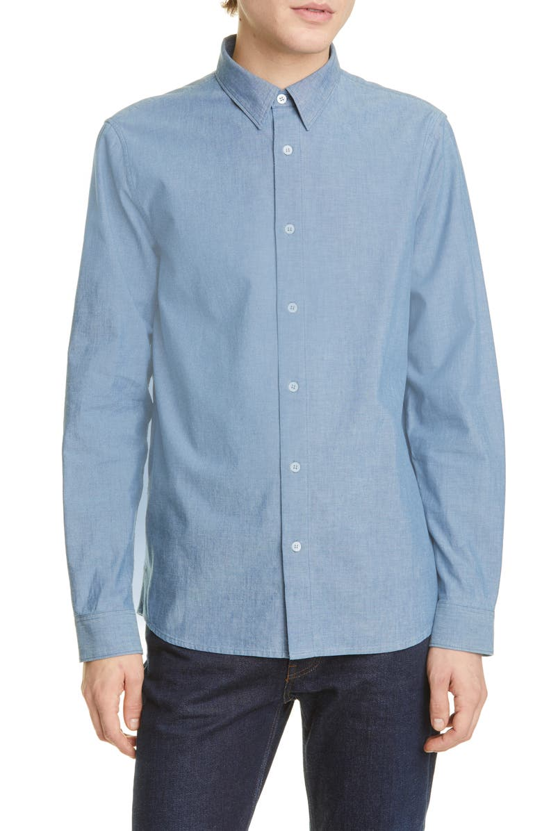 A.P.C. Chemise Hector Button-Up Chambray Shirt, Main, color, 468