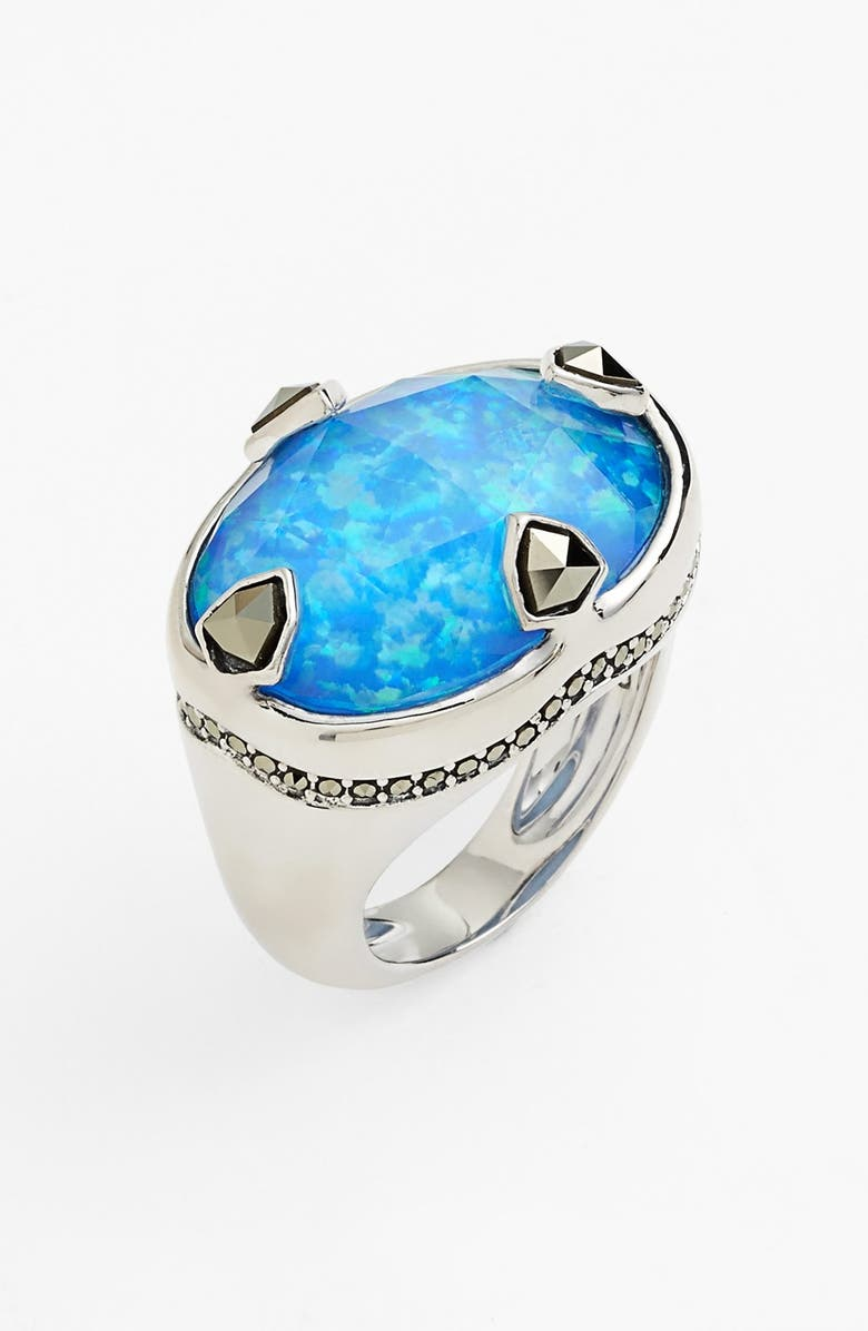 JUDITH JACK 'Blue Sea' Stone Ring, Main, color, SILVER/ BLUE