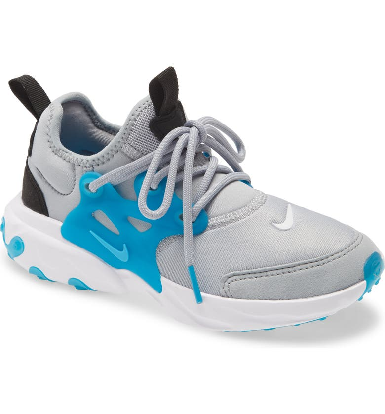 NIKE Presto React Sneaker, Main, color, WOLF GREY/ WHITE/ LASER BLUE