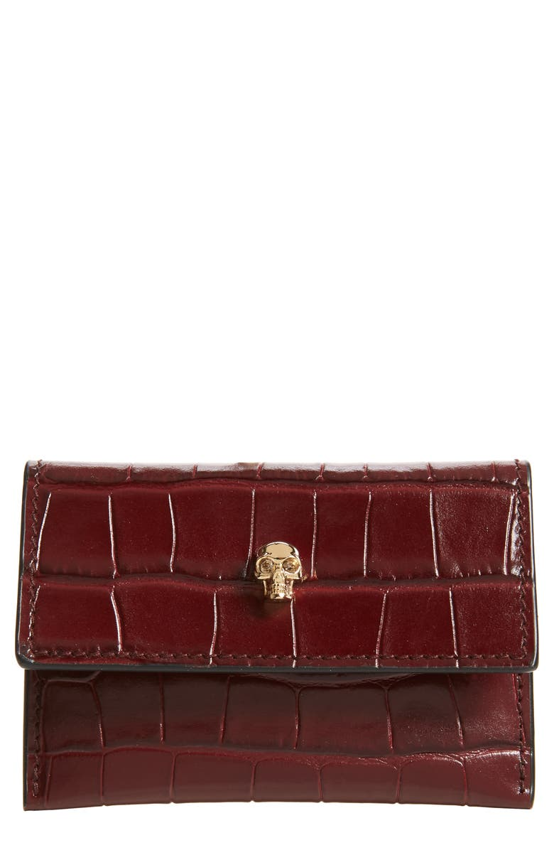 ALEXANDER MCQUEEN Croc Embossed Leather Card Holder, Main, color, MADDER