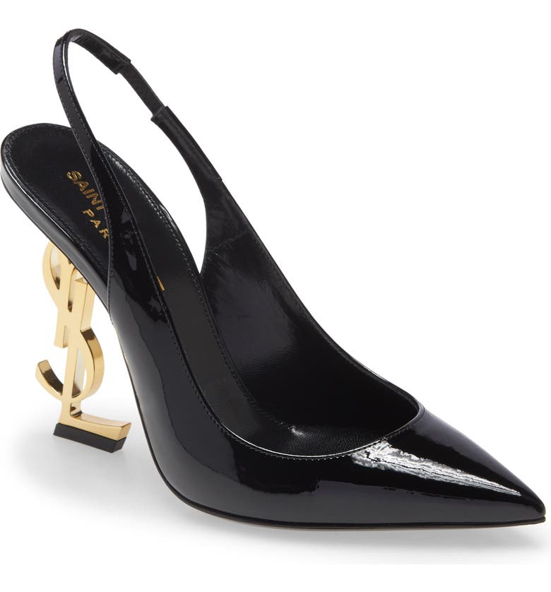 SAINT LAURENT Opyum Pointed Toe Slingback Pump, Main, color, BLACK