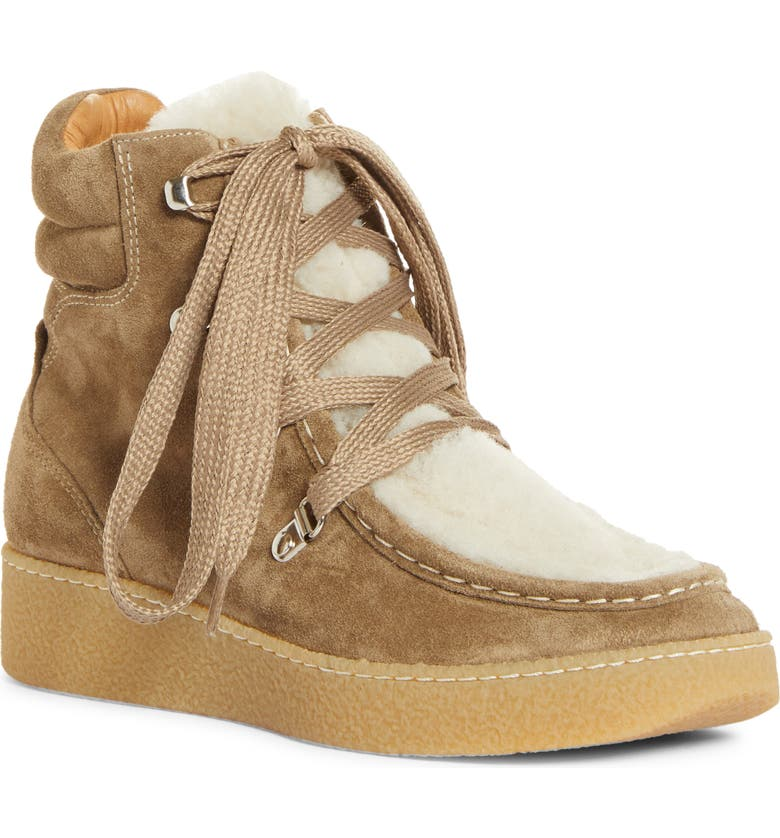 ISABEL MARANT Alpica Genuine Shearling Hiking Boot, Main, color, TAUPE