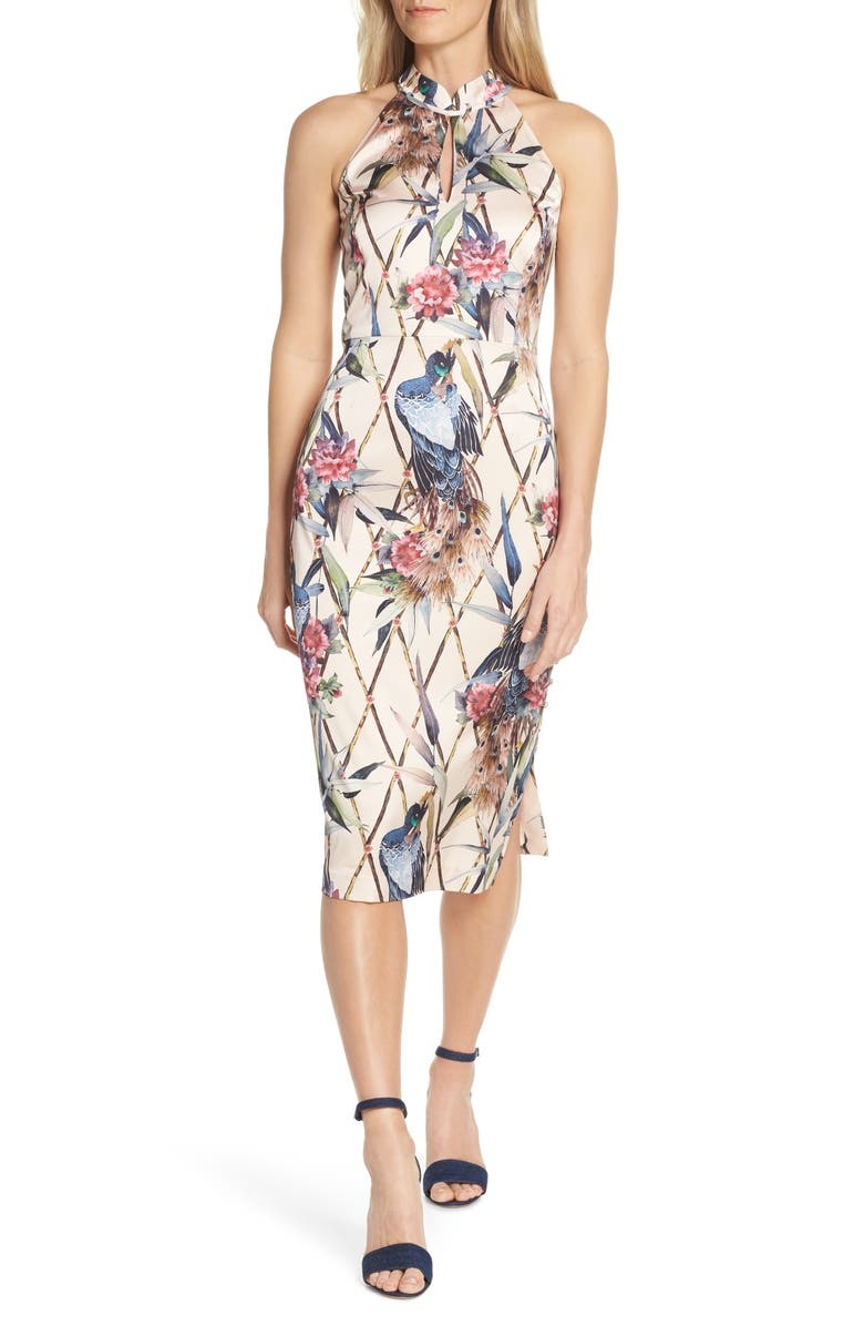 FOREST LILY Peacock Halter Sheath Dress, Main, color, 250