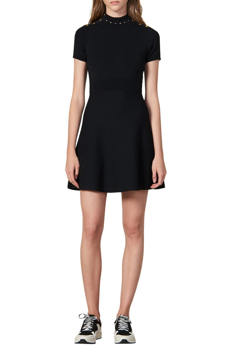 SANDRO Liora Fit & Flare Sweater Dress, Main, color, 001