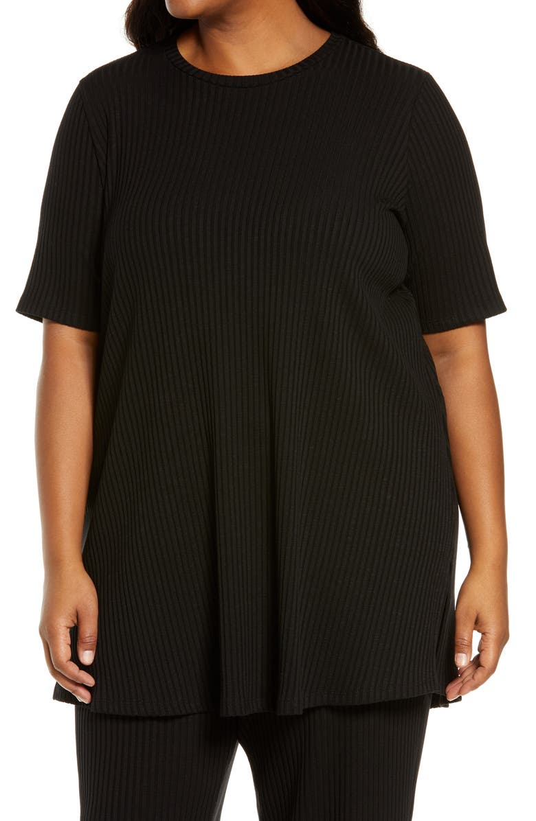 EILEEN FISHER Ribbed Knit Tunic, Main, color, 001