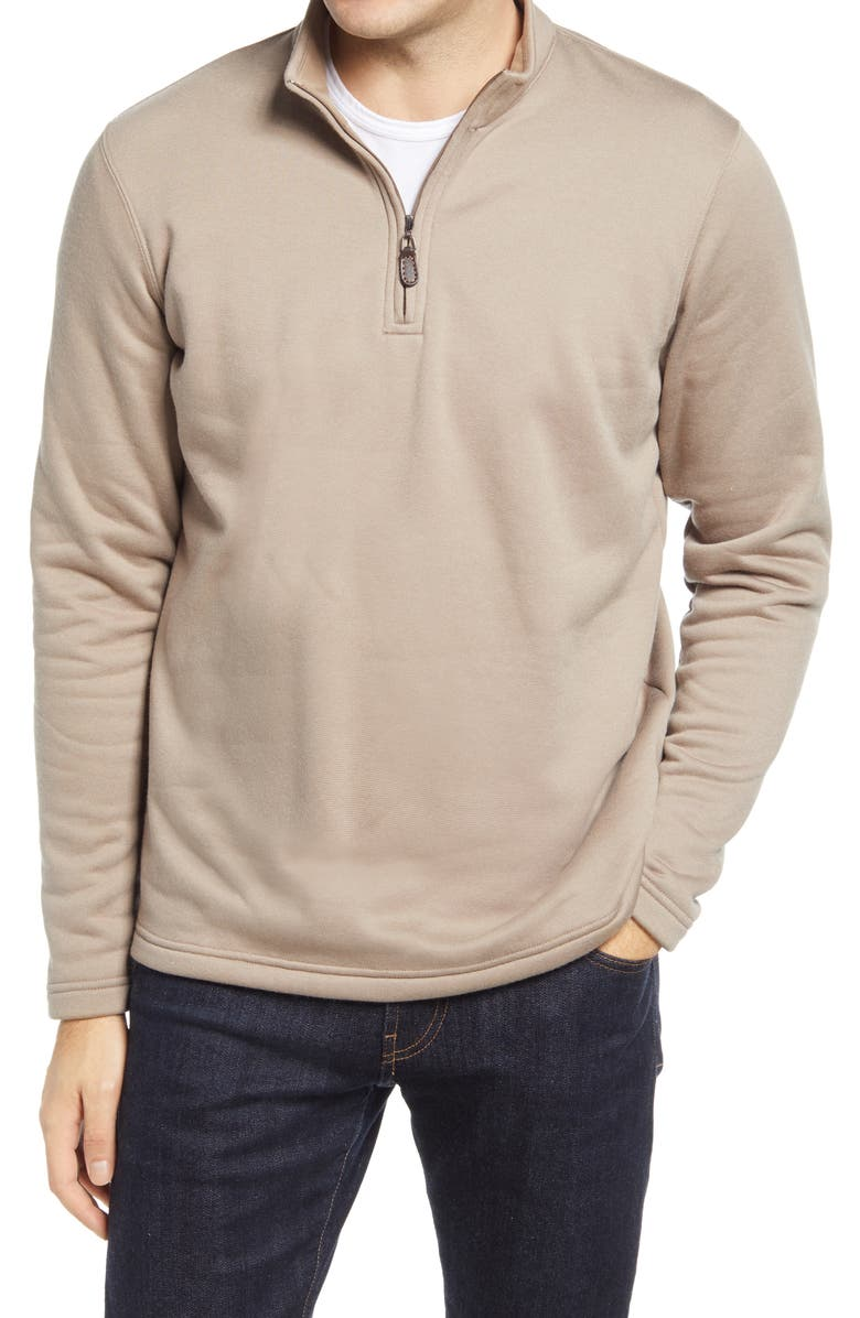 JOHNSTON & MURPHY XC4 Performance Quarter-Zip Pullover, Main, color, OATMEAL