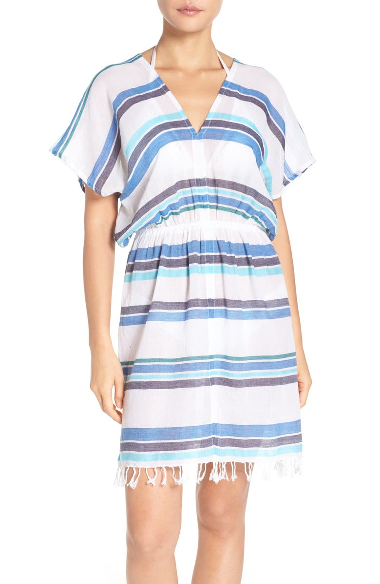 TOMMY BAHAMA Stripe Gauze Cover-Up Dress, Main, color, 100