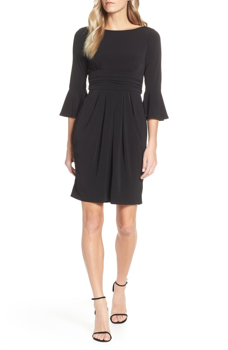 ELIZA J Bell Sleeve Knit Sheath Dress, Main, color, 001