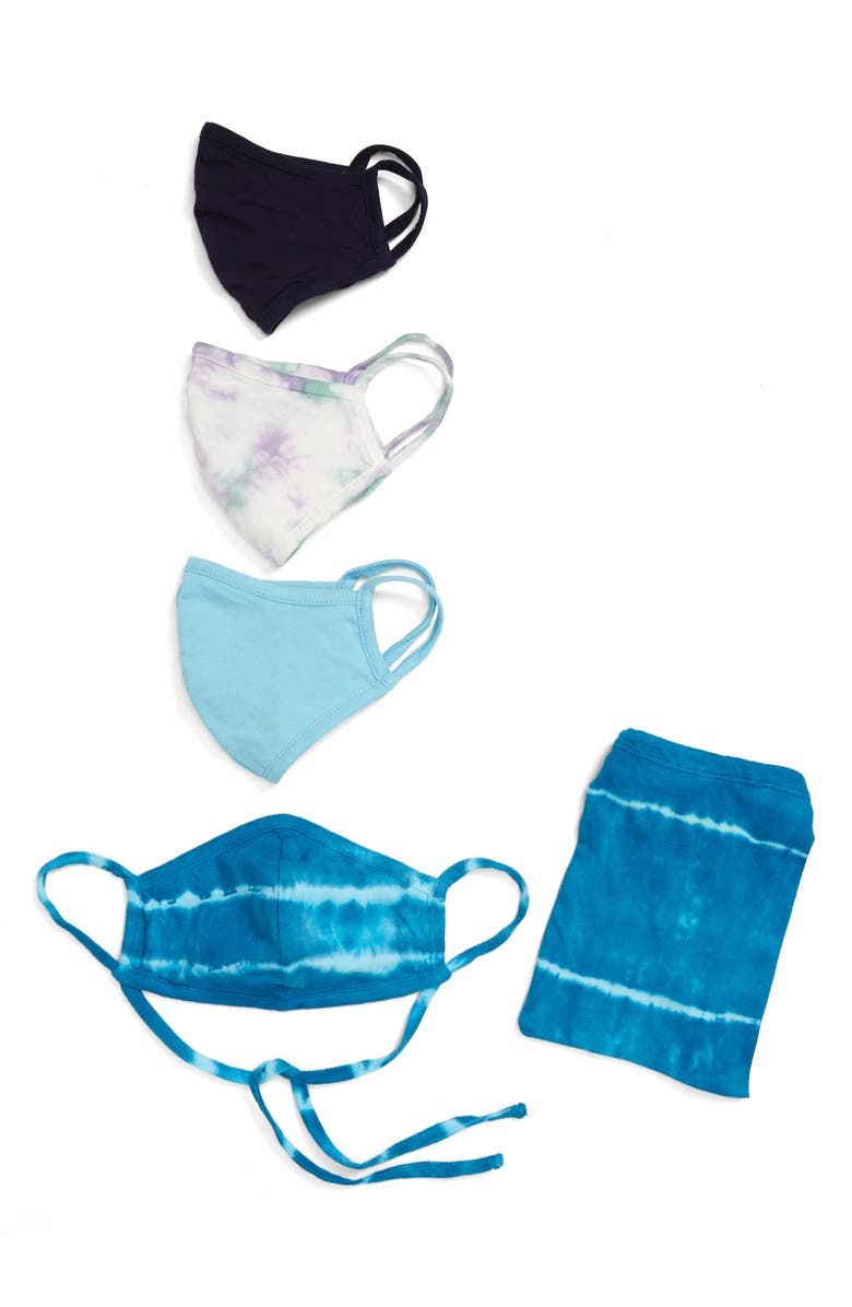 NORDSTROM Assorted 4-Pack Adult Face Masks, Main, color, BLUE TIE DYE COMBO