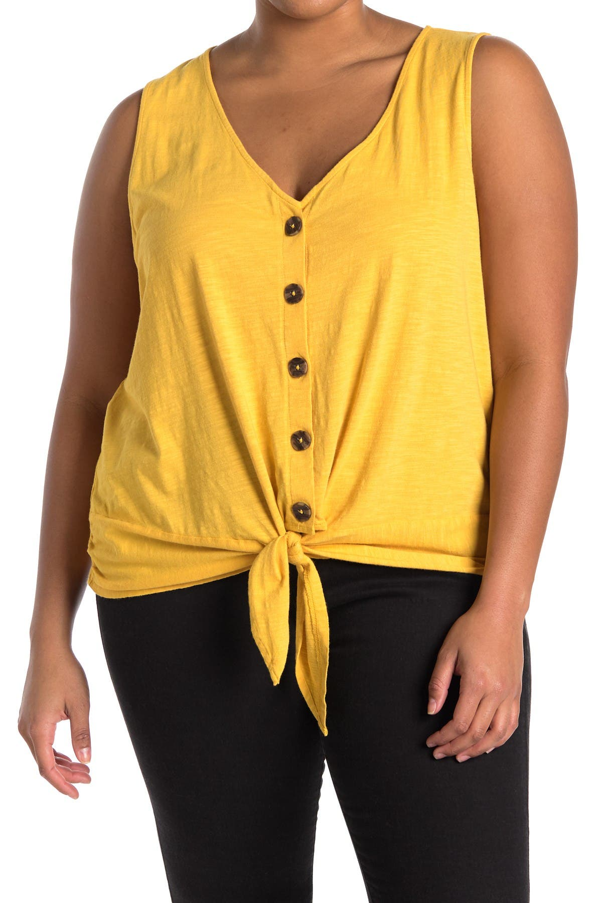 Tie To Keep Up Button Front Tank Top   Nordstromrack