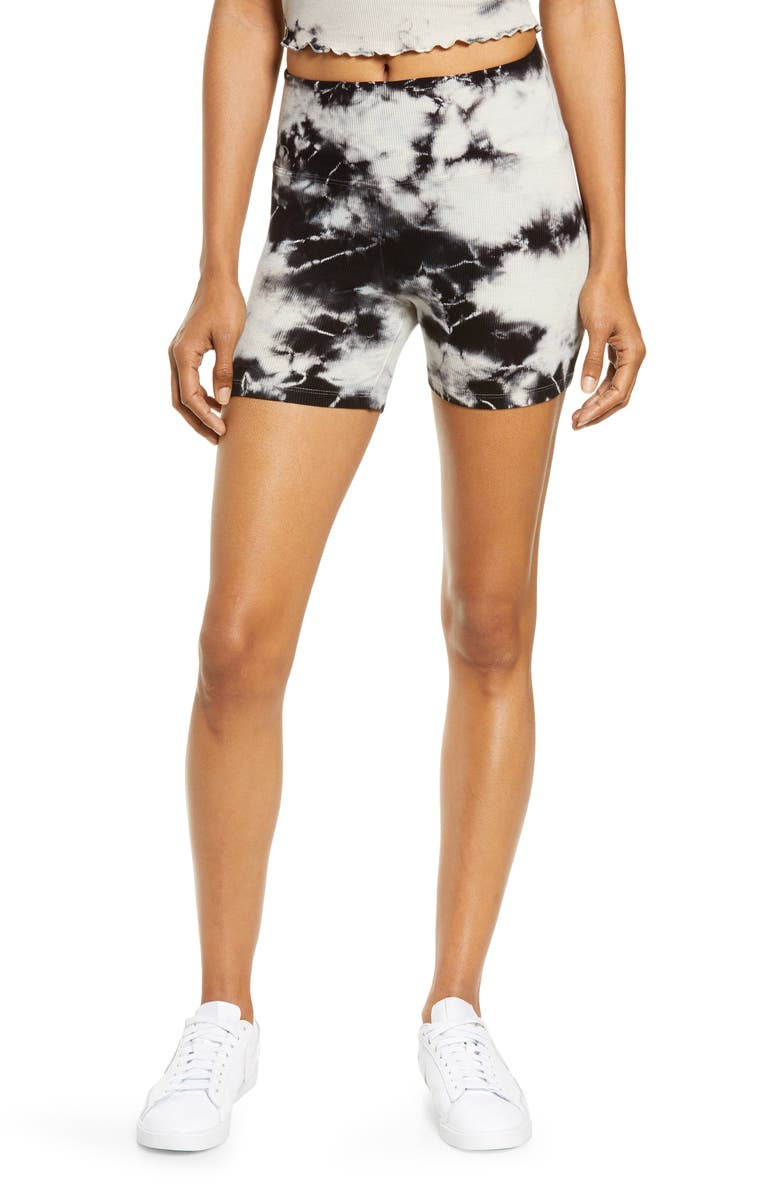 YEAR OF OURS Rib Sleep Shorts, Main, color, BLACK TIE DYE