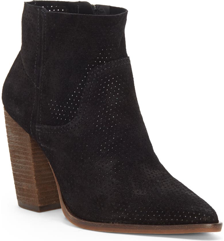 VINCE CAMUTO Cava Perforated Pointy Toe Boot, Main, color, 001