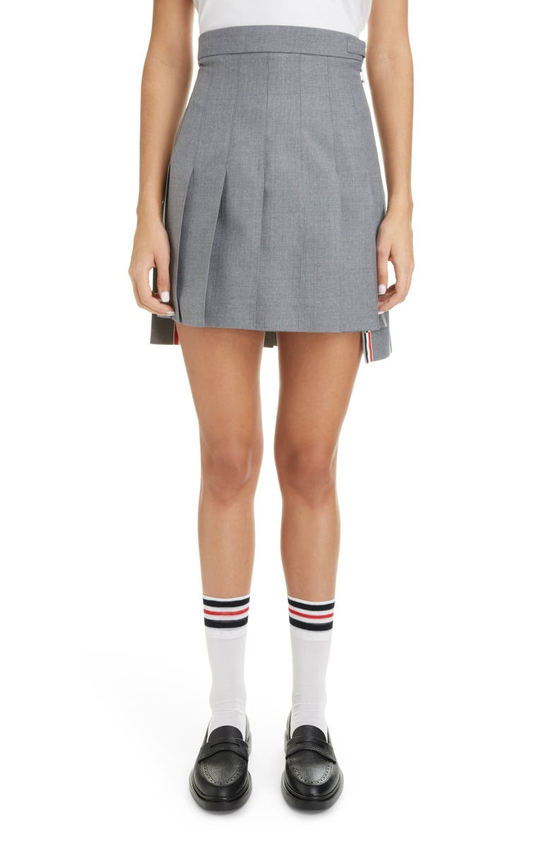 THOM BROWNE Step Hem Pleated Wool Blend Miniskirt, Main, color, 035