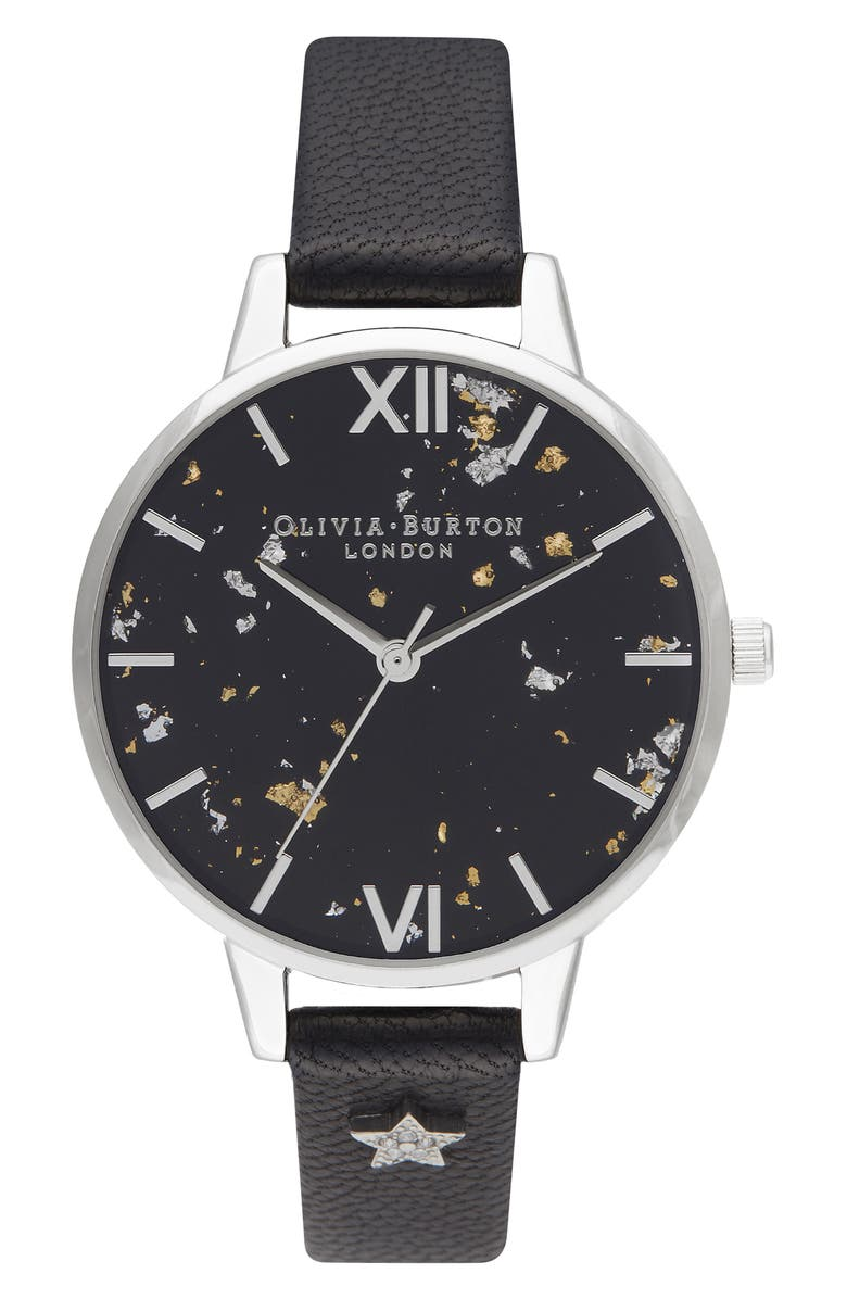 OLIVIA BURTON Celestial Leather Strap Watch, 34mm, Main, color, 001