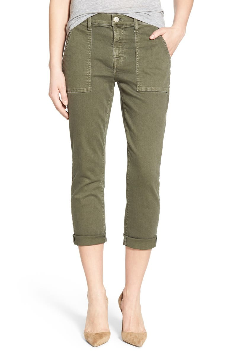 7 FOR ALL MANKIND <sup>®</sup> Crop Slim Boyfriend Military Pants, Main, color, MILITARY GREEN