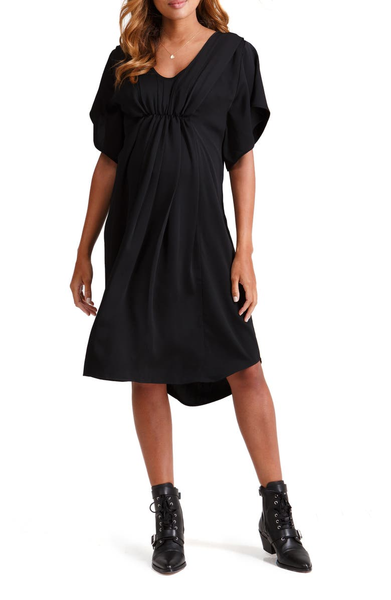INGRID & ISABEL<SUP>®</SUP> Pleat Front Maternity/Nursing Dress, Main, color, 006