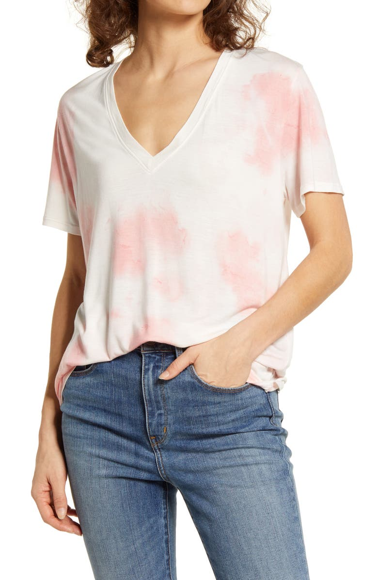 TREASURE & BOND Marble Wash V-Neck T-Shirt, Main, color, PINK SMOKE COMBO