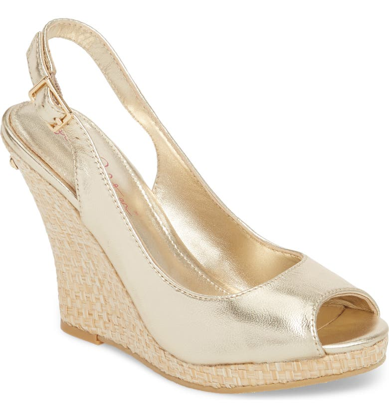 LILLY PULITZER<SUP>®</SUP> Kristin Slingback Wedge Sandal, Main, color, GOLD METALLIC LEATHER