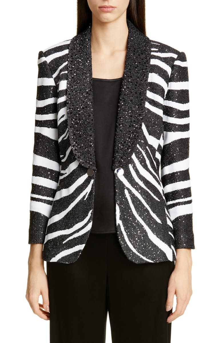 ST. JOHN COLLECTION Sequin Zebra Jacquard Knit Jacket, Main, color, 001