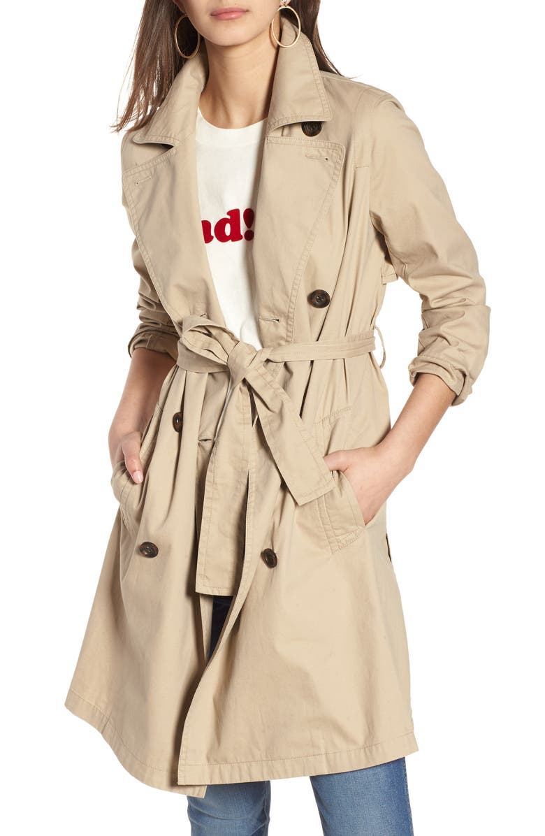 MADEWELL Abroad Trench Coat, Main, color, DARK ROPE
