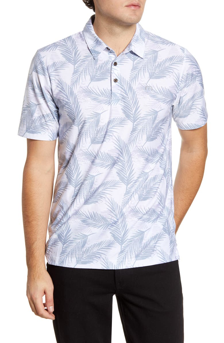 TRAVISMATHEW Saucey Regular Fit Tropical Short Sleeve Button-Up Shirt, Main, color, 100