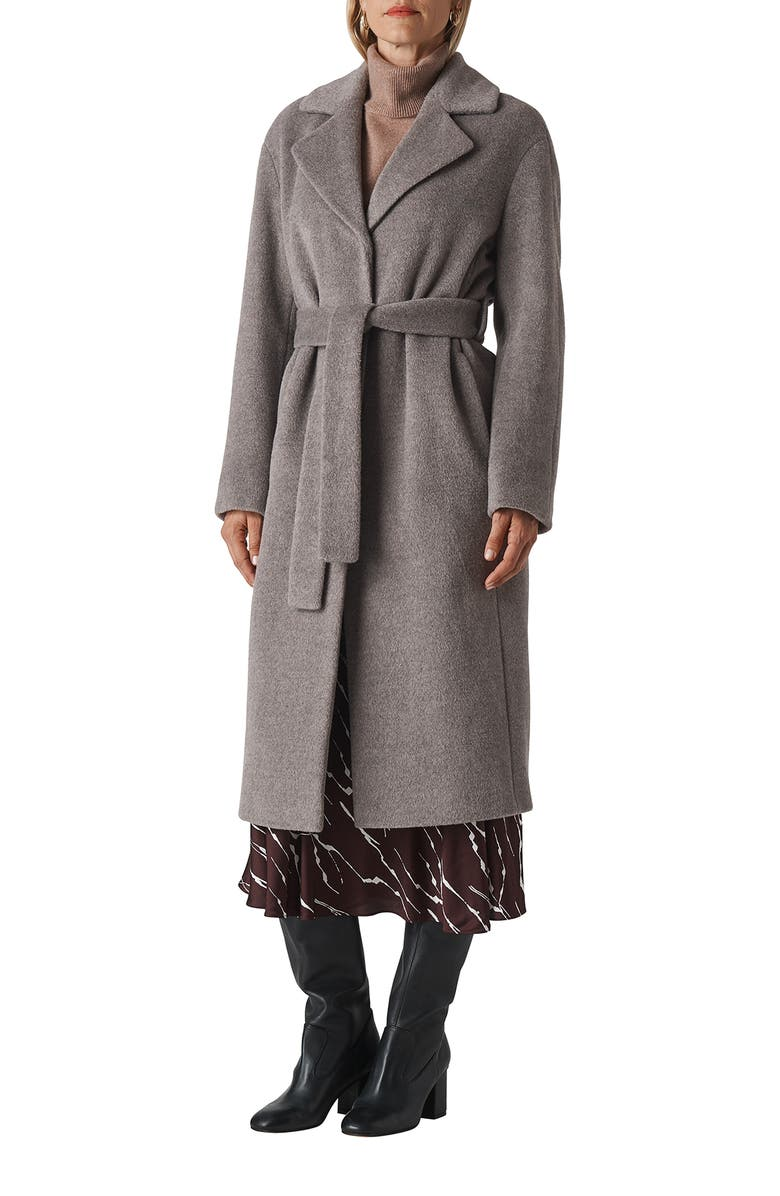 WHISTLES Darcey Drawn Belted Wool Blend Wrap Coat, Main, color, 020