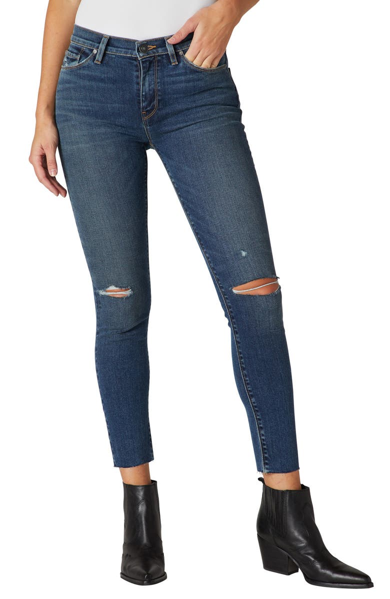 HUDSON JEANS Nico Ripped Mid Rise Ankle Skinny Jeans, Main, color, WORN SHAKEDOWN